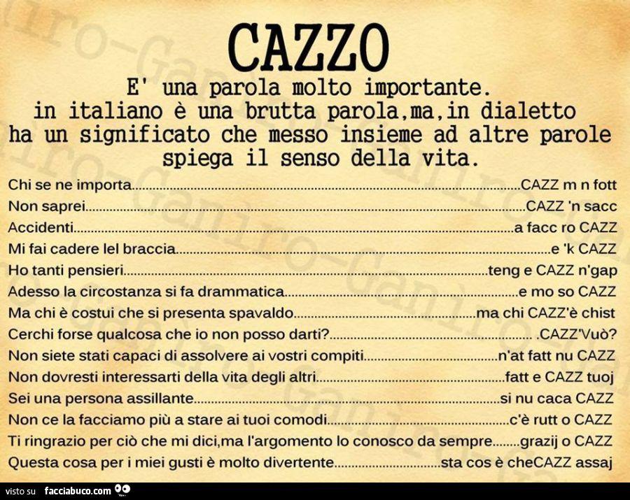Cazzo una parola molto importante in italiano una - Parole con due significati diversi ...