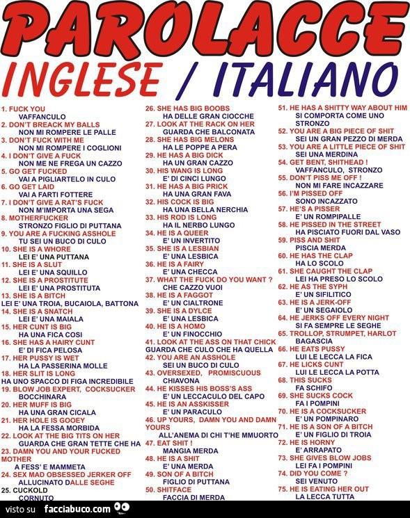 Parolacce inglese italiano - Facciabuco.com