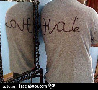 Hate odio in inglese visto allo specchio appare love for A specchio in inglese